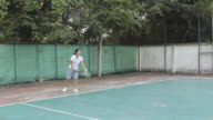 Playing tennis video
