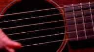 Playing the guitar. Live music performance. FullHD macro video video