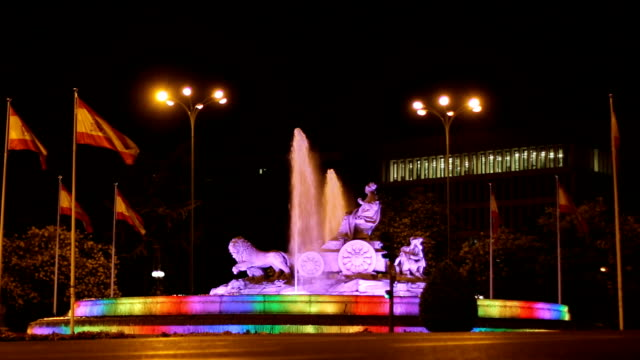 Plaza de Cibeles fountain iluminated in rainbow colors, symbol of LGBT video