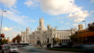 Plaza De Cibeles, Madrid, Spain. Timelapse video