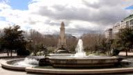 Plaza de Espana popular tourist monument, Monumento Cervantes, Madrid video