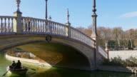 plaza de espana under the bridge boat ride 4k seville spain video