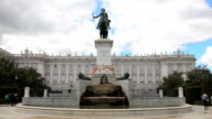 Plaza de Oriente with monument and Royal Palace, Madrid video