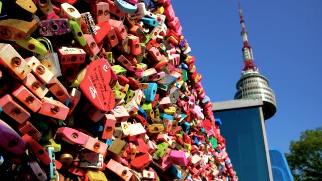 Plenty of Locked master key on the fence of Namsan Tower in Seoul, South Korea. video