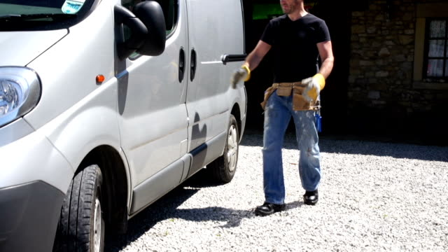 HD CRANE: Plumber / Handyman, Electrician, collects Tools from Van video