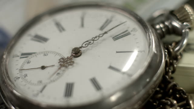 Pocket watch dial closeup, hands moving. Time flying by, history video