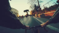 Point of view POV bicycle by the Coliseum of Rome video
