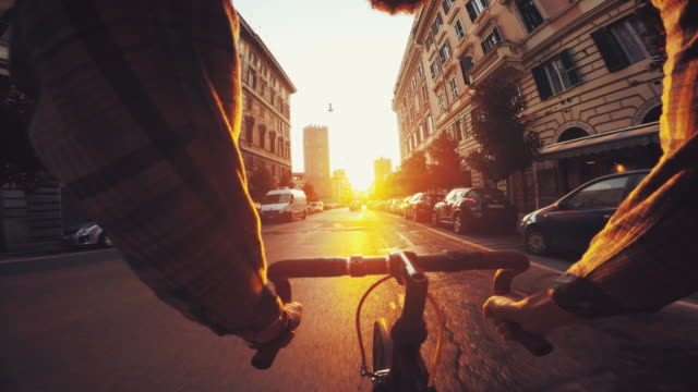 Point of view POV bicycle in urban street contest video