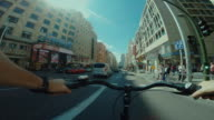 Point of view POV bicycle ride in Gran Via of Madrid video
