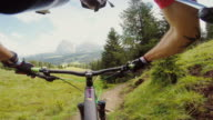 Point of view POV mountainbike fast ride downhill video