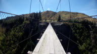 Point Of View Of A Cyclist Crossing A Suspension bridge video