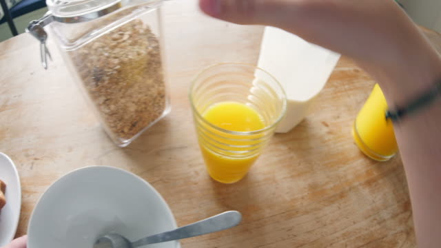 Point of view of man serving himself breakfast video