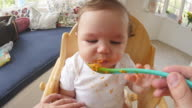 Point Of View Shot Of Baby Being Fed In High Chair video