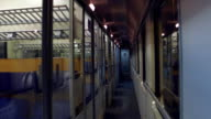 Point of view steadicam shot of empty train corridor. FullHD video video