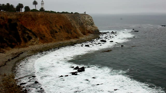 Point Vicente Lighthouse in fog video