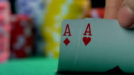 Poker champion showing master class at casino, gambler's point of video