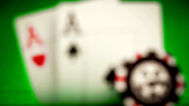 Poker chips and playing cards video