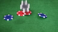 Poker chips falling on table video
