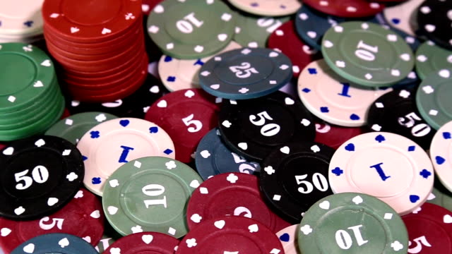Poker chips on rotating surface video