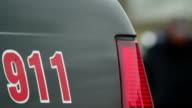 Police 911 car steel part, emergency phone on security vehicle video