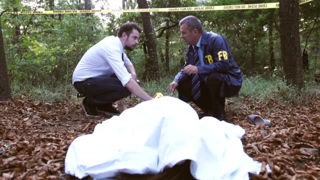 Police and FBI on crime scene video