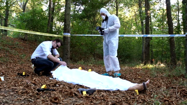 Police and forensics on crime scene video