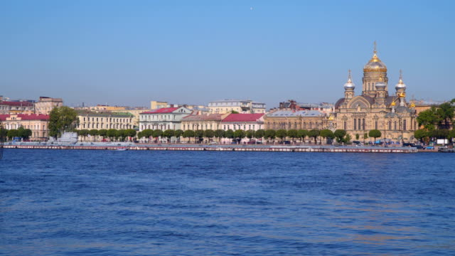 A police boat sails on the Neva River in St. Petersburg video
