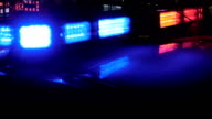 Police car lights in China at night video