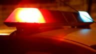 Police car siren. Close up video
