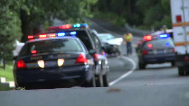 Police Cars at Accident Scene - Blurred video