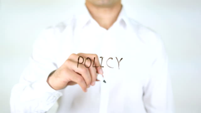 Policy, Man Writing on Glass video