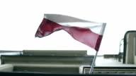 Polish flag, wind, house, krakow video