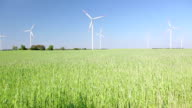 Polish village, grain field and windmills in Poland video