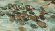 Polish zloty banknotes closeup. Rotating banknotes. video