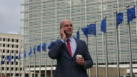 Politician in European Commission building - Berlaymont. Successful administrative person working in Brussels video