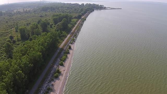 Polluted Lake Algae Bloom Aerial View Altitude increasing video