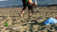 Pollution on beach video