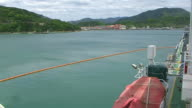Pollution protection. View of an island from the ship video
