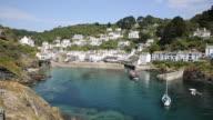 Polperro Cornwall England UK beautiful harbour and fishing village video