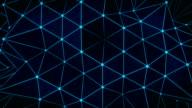 Polygonal glowing blue surface. Abstract 3D render loop video