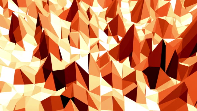 Polygonal mosaic background with vertex, spikes in cartoon modern 3D design. Abstract transforming orange low poly surface as landscape or geometric structure in stylish low poly design video