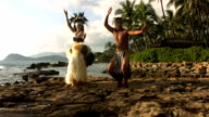 Polynesian dancers perform by ocean video