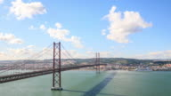 Ponte 25 de Abril bridge in Lisbon video