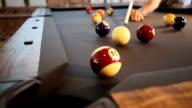 Pool Ball Hit in the Corner Pocket Lower video