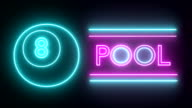 Pool billiards neon sign lights logo text glowing multicolor video