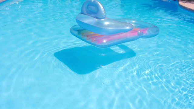 Pool Raft Floats Around on a Swimming Pool video