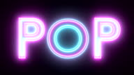 Pop neon sign lights logo text glowing multicolor video