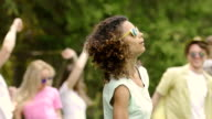 Pop star singing and dancing at open-air music festival, concert, fame video