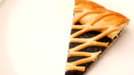 Poppy seed pie on plate. Rotation. video