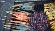 Pork meat vegetables and shrimp prawn skewer on charcoal grill video
